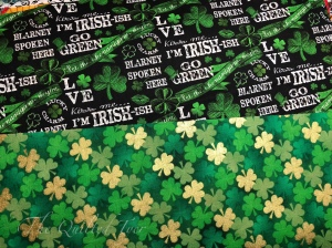 Irish fabrics and shamrocks