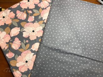 pink flowers and grey